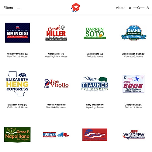 The Center for American Politics and Design (CAPD) has created a searchable collection of every campaign logo from the 2018 election for US Congress. The archive is a tool to explore trends and typologies that reveal themselves only when viewed in aggregate.