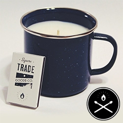 Square Trade Goods Co. - Nice logo and fun concept of an enamel camp mug candle.