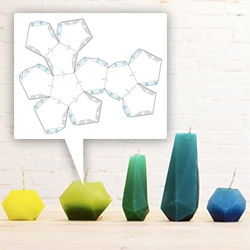 DIY Geometric candles and concrete vases how-to using paper molds from Homemade Modern.