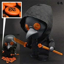 Amazing new Project Squadt toy dropping from Ferg on Halloween! Playge Doctor s003[treats] - complete with what look like squadt quad-skull m&m's! (And there are crazy eyes under that mask!)