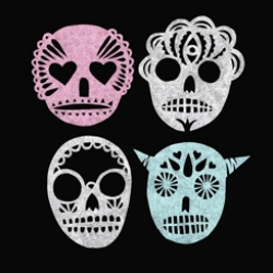 Adorable candy hued papercut skulls!