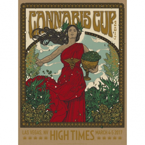 The Cannabis Cup Las Vegas 2017 poster design by Richey Beckett. There is a regular and variant version (only 150 of the regular and 100 of the variant silk screen printed.)