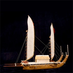 Francis Pimmel handcrafts exquisitely detailed models of Polynesian canoes from native Hawaiian woods.