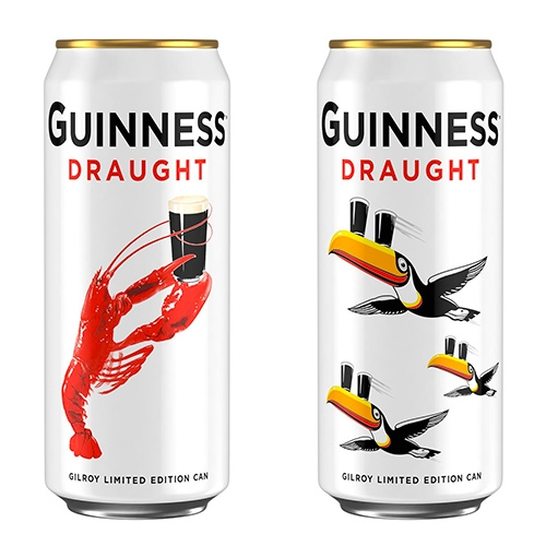 Guinness Special Gilroy Limited Edition Cans - lobster and toucans! Over the years, Guinness has used so many great illustrations by British artists John Gilroy!