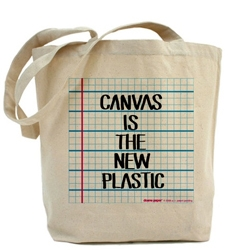 Did you hear? Canvas is the new plastic? Doane Paper (the guys who let you print your own grid paper, etc) have branched out into some fun bags, shirts, buttons, etc.