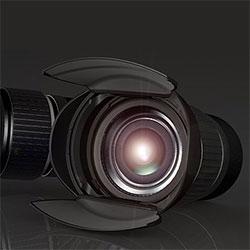 Hoocap ~ lens cap that opens right into a lens hood
