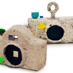 Camera with body made out of recycled paper. Concept by Amos Woo and Sharon Ng.