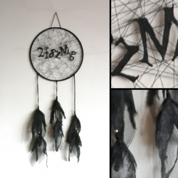 "Jeffery Augustine took the numbered and lettered sequences of the Captcha process and wove them into a Native American Dream Catcher. Thus the ""Dream Captcha."""