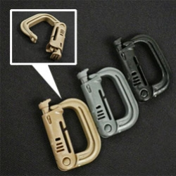 "Grimloc Carabiners ~ a new must have for your travel bags/packs. Unlike the usual ones, these can be slid on to any 1"" strap, and the release button is secure but easy to open (even with gloves on)"