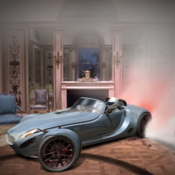 What a great idea for a hybrid-electric muscle car.  The MOFO is shown doing doughnuts inside a Louis XIV interior.
