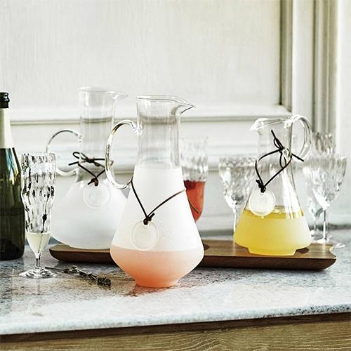 Charmed Carafe Set - Set of three glass carafes and acacia wood tray