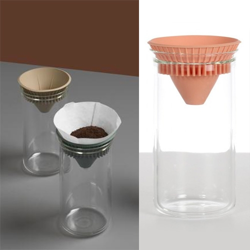 Good Thing Twin Carafe designed by Studio Gorm. This coffee and tea brewer consists of a borosilicate glass carafe and silicone lid. The center of the lid acts as a pour over set while the ridged edge can be used to filter loose-leaf tea.