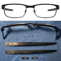 Oakley Carbon Plate Rx Eyeglasses are ridiculously comfortable with ultra-lightweight titanium and flexible carbon fiber. My favorite detail is that the O's are how the stems are screwed on to the frame!