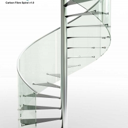 Spiral staicase with ultra thin carbon treads, stainless steel pole and handrail. Glass panels form the balustrade.