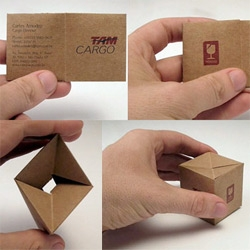 TAM cargo - Another example of a creative business card ~ brown paper package inspired!
