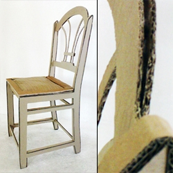 A real fancy classic cardboard chair, as designed and built by Anna Haenko, textile and surface designer.