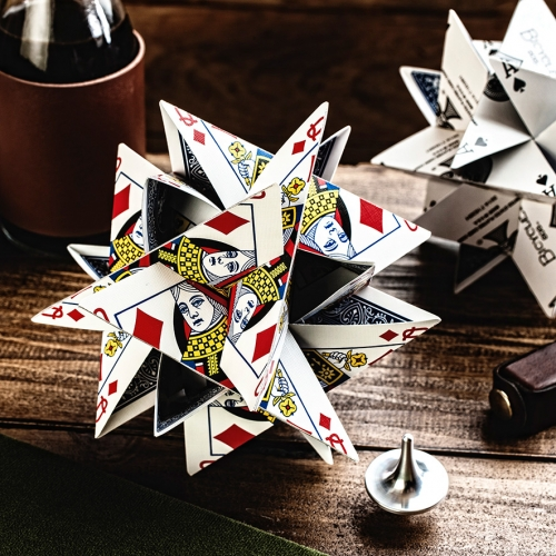"3D Card Star - Created by Professor George W. Hart, co-founder of the Museum of Mathematics in New York City. Once assembled, the dozen pre-cut playing cards included will lock together to create a 5.5"" tall starburst."
