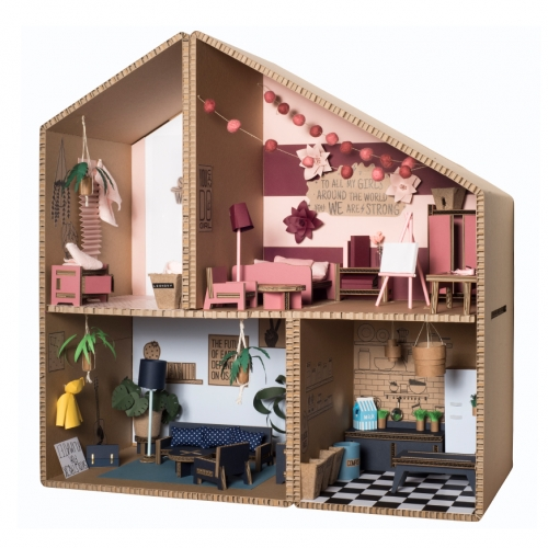 Koko Cardboards Super Heroes Play House - minimal cardboard doll house that you can fill with their matching furniture. (Seems like fun inspiration for a laser cutter project...)