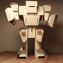 "Build yourself a cardboard robot. Two sizes are available, the small one is 20"" and the large one is 41"" tall. So adorable."
