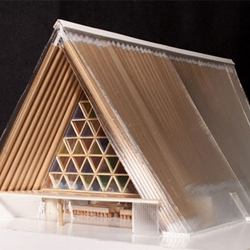 "Architect Shigeru Ban has designed a ""temporary"" cathedral in Christchurch, New Zealand made out of load-bearing cardboard tubes with seating for 700."