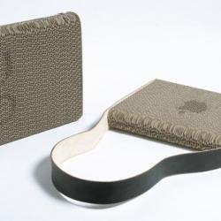Giles Miller's unique Corrugated Cardboard Laptop Case at London's [re]Design exhibit.