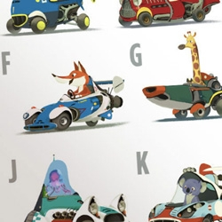 Zoom Zoo Alphabet Flashcards by Dreamworks Illustrator, Mike Yamada. Adorable animals in retro futuristic cars ~ a la Richad Scarry.