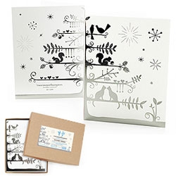 Enormous Champion's Silver Tree Holiday cards - Foil stamped with metallic silver on bright white FSC certified 110# card stock and silver envelopes.