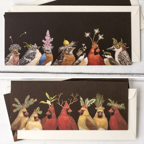 Vicki Sawyer illustrates beautiful birds adorned with party hats and more made of leaves and flowers. She has a great collection with Hester & Cook of cards, placemats and more.