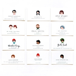 """Rifle Paper Co. ~ illustrated notes calling cards ~ """"Custom illustrated portraits on flat note cards and calling cards - Whimsical portraits painted in your likeness by Anna herself. Hand lettering available."""""""