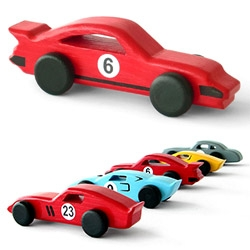 Emanuel Rufo's adorable classic cars ~ Handmade in natural wood, painted with acrylic non-toxic paints. Ferrari 250 GTO, Ford GT40, Mercedes 300 SL Gullwing, Lamborghini Miura, + Porsche 911 Turbo.