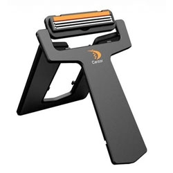 Carzor, a credit card sized portable razor and mirror for shaving on the go.