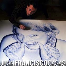 juan francisco casas does some impressive drawings with a biro.