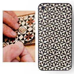 Tarxia handmade iphone cases out of geometric mosaics from noble woods as Palo Santo, Ebony, Walnut, Venge, Sycamore, Sapele and Mahogany among others, and whenever possible from fallen trees.