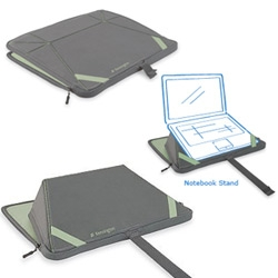 TwoFold Notebook Stand and Sleeve - nice idea from kensington ~ the notebook sleeve has another function!