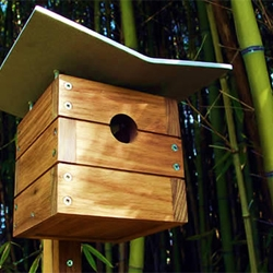 "The Case Study Masters Series is a sturdy set of bird houses, hand-made from sustainably harvested teak with sandblasted 1/4"" thick aluminum plate roofs."