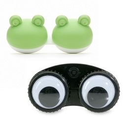 Contact lens cases original to Vision Direct ~ there are other varieties like elephants, fish and even purple hippos and googly eyes.