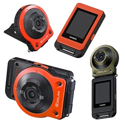 Casio EXILIM Split Camera - Camera unit and controller are Bluetooth connected and splash/dust proof. Concepts like these have been floating around for years, fun to see one making it to market.