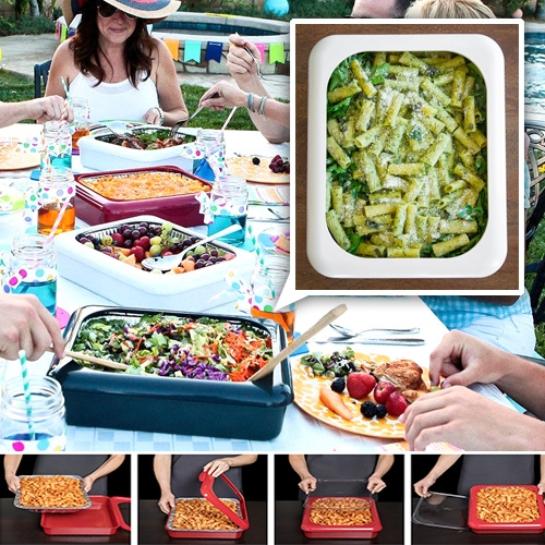 "Fancy Panz - A reusable shell for disposable casserole pans ""The convenience of disposable with the look of elegance"""