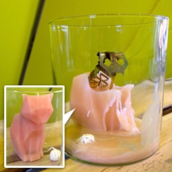 The Devil's Pet candle by Thorunn Arnadottir… melt the adorable pink polygon cat to reveal its rather more sinister skeleton beneath…