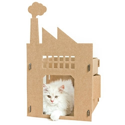 "And ""Old Factory"" made of Cardboard for your cat! BY KEK Amsterdam... one of many fascinating cat creations."
