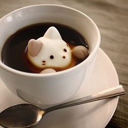 Cat Marshmallows that nearly pop out of your cup - from sanpasta in japan.