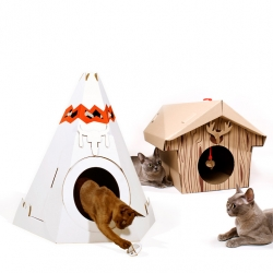 Cat Play House - folded cardboard Teepee & Cabin houses for cats.