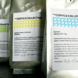 Nice and clean packing from danish The Coffee Collective (TCC). The profile that circles around a simple and nice triangular pattern was developed by Hatch & Bloom in close corporation with TCC.