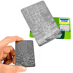 Stainless Steel Credit card subway map for NY!  Pretty handy.  Where's the one for SF..?
