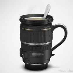 Camera lens mug ~ unfortunately just a photoshop concept shot...