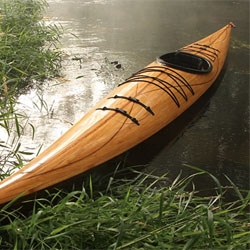 The Cedar Strip Wood Kayak from Justin Charles has a classic elegance to its curves.