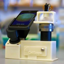 Cell Scope, from the Fletcher Lab at the University of California, Berkeley, is designed to turn the camera of a standard cell phone into a diagnostic-quality microscope with a magnification of 5x-60x.