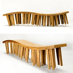 A multiplicity of legs, making it difficult to see which ones are supporting the piece, give these benches the lightness and movement of an walking object. Centipede benches is designed by Mexico's most wanted designer Héctor Esrawe.