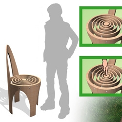 CEPPO CHAIR  presents a structure thought as it was excavated in a tree trunk. The seat is made of  wooden concentric rings, joined with resistant and flexible fiber. Despite the slight downfall while sitting, the customer feel immediately the comfort.