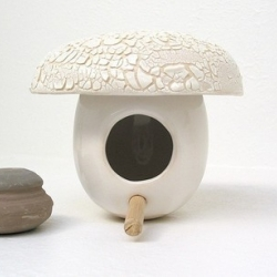 Absolutely wonderful ceramic bird houses from Denver based artist Michael McDowell.